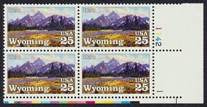 #2444 25c Wyoming Statehood, Placa Bloque [1142-1 LR ] Cualquier 4=