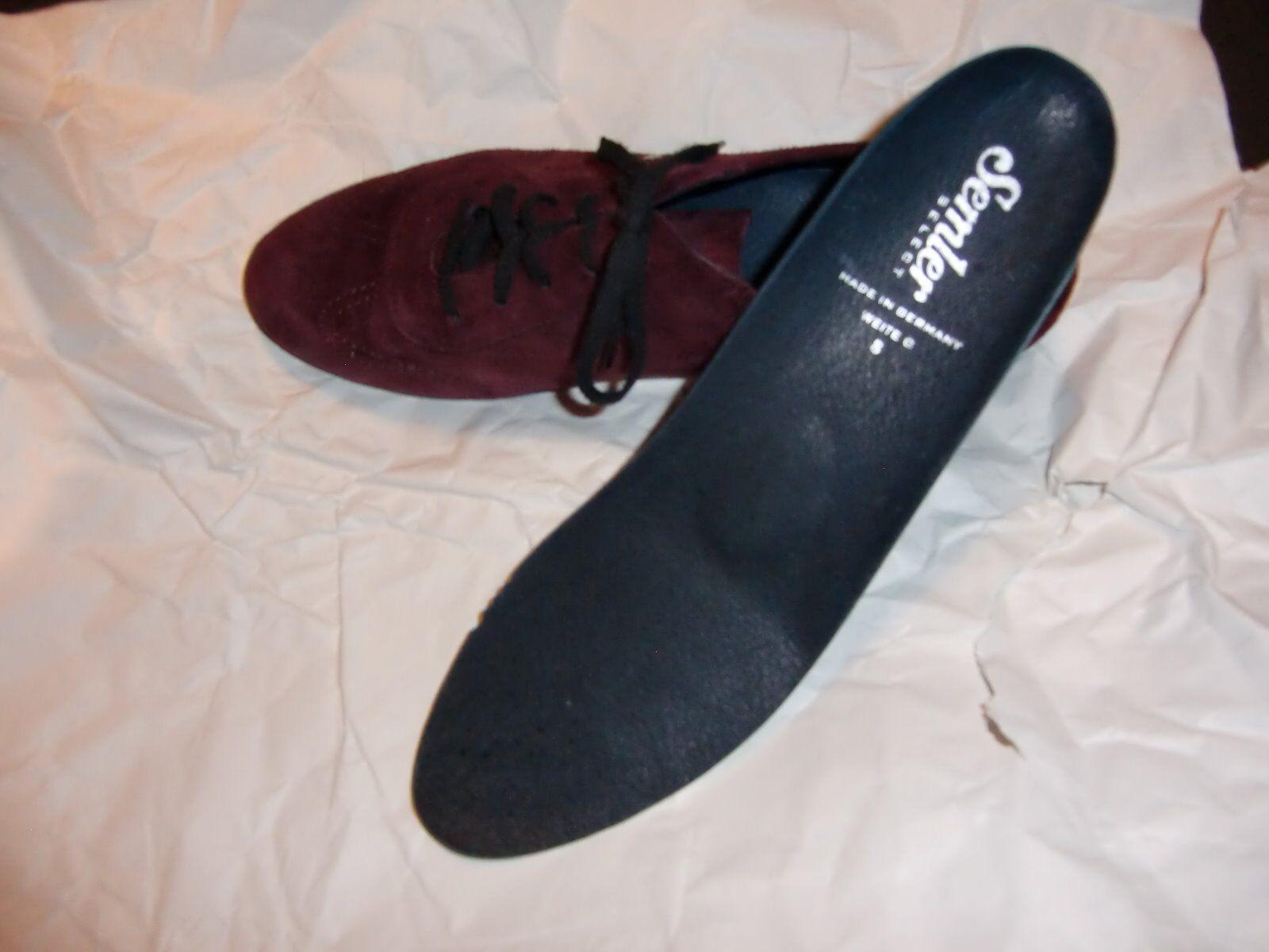 Semler Leder Damen Schuhe Leder Semler Samt-Chevro Gr.8G/42 Brombeer Schnürer 421333
