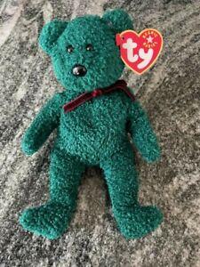 TY Beanie Baby 2000-2001 Holiday Teddy Green Bear RARE RETIRED
