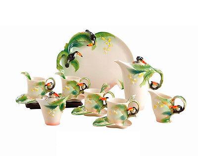 16PCS Porcelain Toucan Relief Tea Coffee Set Cup Saucer Sugar Bowl Pot Ceramic