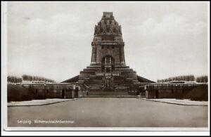 Leipzig-Sachsen-alte-Postkarte-1932-gelaufen-Partie-am-Voelkerschlacht-Denkmal