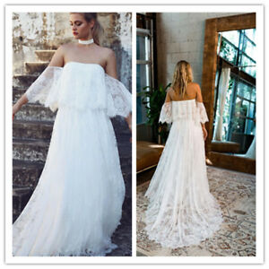 278b702826a Lace Train Beach Boho Wedding Dress Bridal Gown Off the Shoulder ...