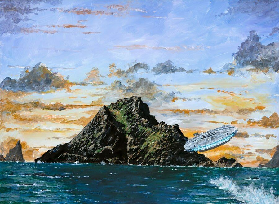 Star Wars Millennium Falcon Ahch-To Island Star Wars Painting Fine Art Giclée