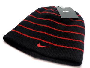 4ec81c92 Nike Boy's Beanie Knit Hat Black With Red Stripes & Logo SZ 8/20 ...