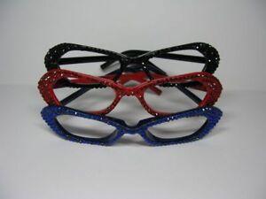 n176-Fasching-Party-Strass-Brille-ohne-Glaeser-Fassung-Gestell-versch-Farben