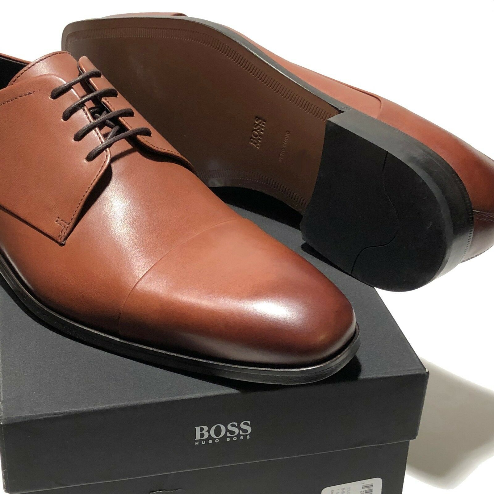 HUGO BOSS Brown Leather Cap-toe Men's Oxford 7 40  Dress Formal Fashion Casual