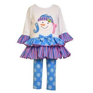 Bonnie-Jean-Winter-Madchen-Outfit-Tunika-Kleid-Leggingshose-Schneemann-92-98-104