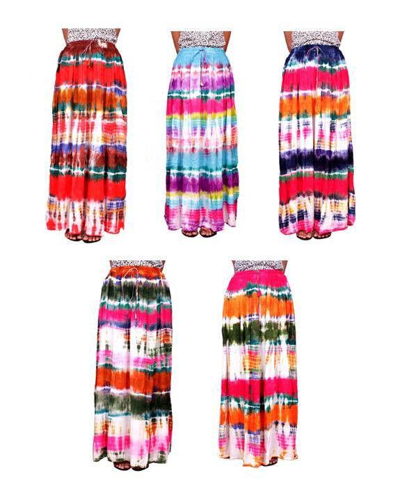 Apparels India 5Pcs-100pcs Tie Dye Print USA Boho Gypsy Long Skirt Wholesale Lot