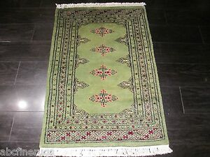 2x3 Bokhara Allover pattern Natural Turkish Knot Hand-knotted Wool Rug 582470