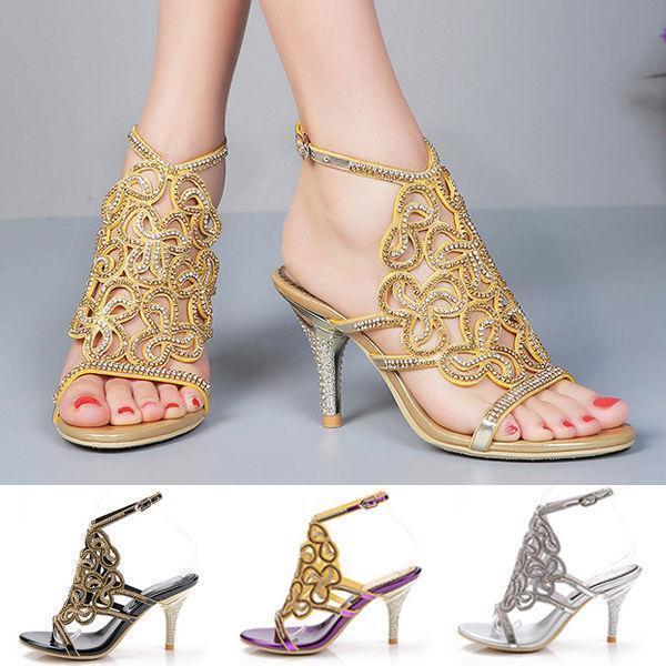 Womens shoes Crystal High Heels Stilettos Party Rhinestone Wedding shoes Sandal