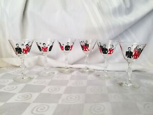 Libbey-Singing-Couples-MCM-Cordial-Cocktail-Stems-Bar-Glasses-Red-Black-Set-of-6