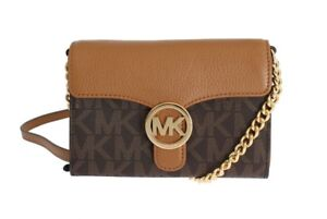 a3c2f3d8125954 Image is loading Michael-kors-Brown-VANNA-Leather-Small-Crossbody-Handbag