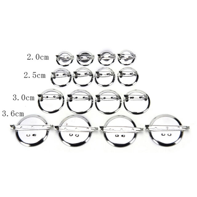 10pcs Silver Plated Back Brooch Pin Findings DIY Supply Safety Base Cameos KK