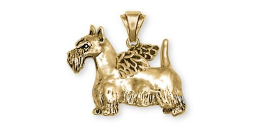 Scottie Scottish Terrier Angel Pendant 14k Yellow Gold Vermeil Dog Jewelry SY15