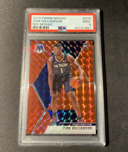2019-20-Panini-Mosaic-RC-Rookie-Red-Mosaic-Prizm-Zion-Williamson-PELICANS-PSA-9