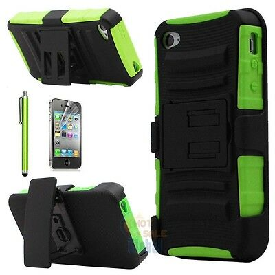 Heavy Duty Rugged Hard Case Cover + Belt Clip Holster Kickstand for iPhone 4G 4S