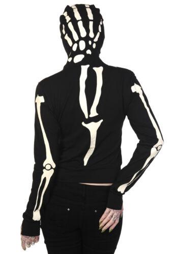 Glow in dark Skeleton zip up face Hoodie Banned Living Dead Souls goth punk rock