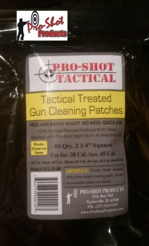 """Pro-Shot Tactical  Treated Cleaning Patches 2-1//4/"""" Square .38-45cal  #TT2.25-80"""