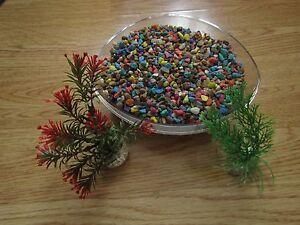 1 Kg Multicolore Aquarium Gravier & 2 Plastique Plantes-afficher Le Titre D'origine