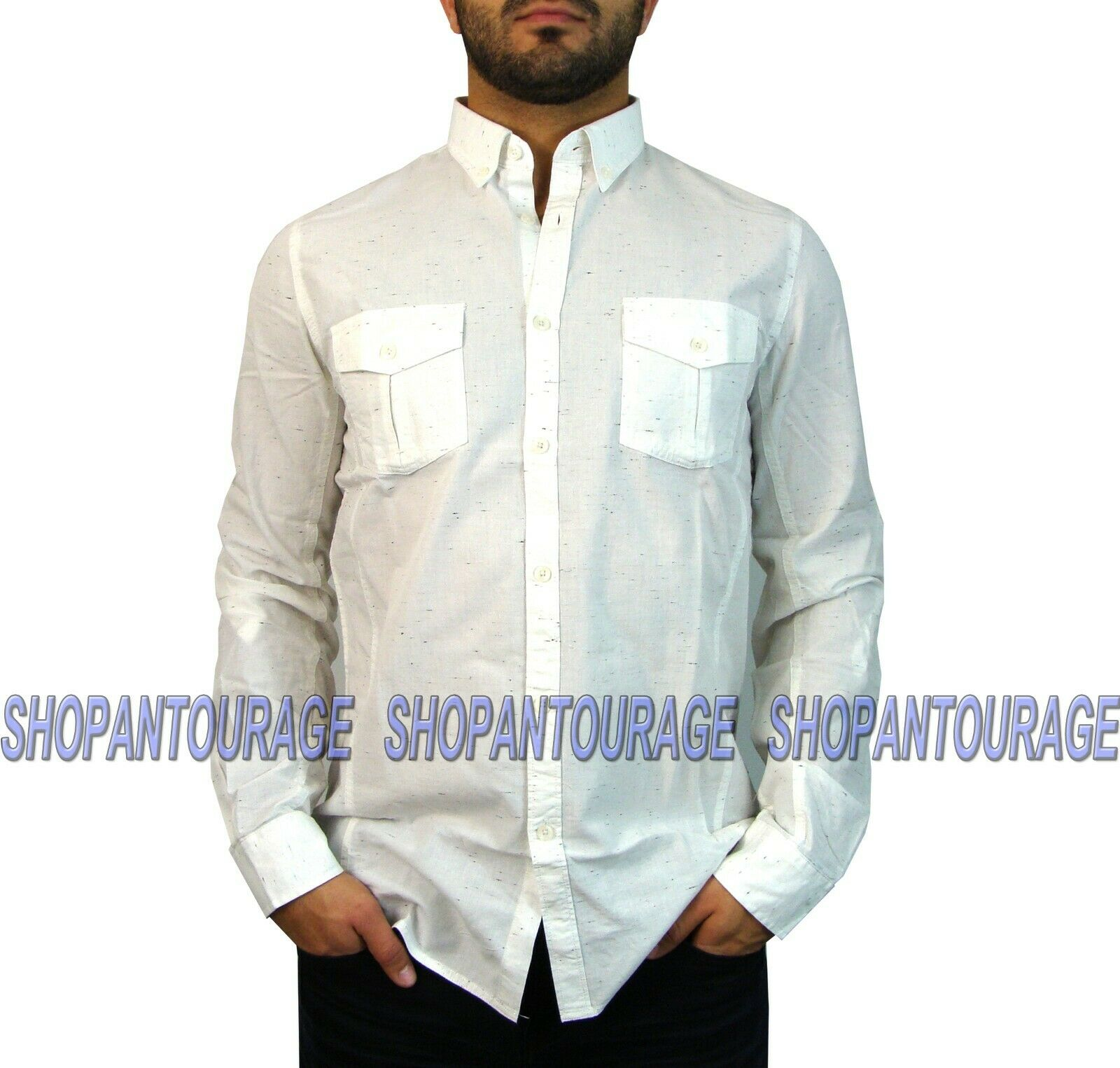 Indigo Star Life MIFL823 New Long Roll-Up Sleeve Button-Down Woven Shirt For Men