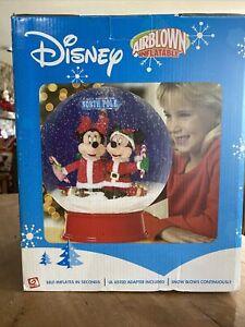 "Rare Gemmy 15"" Airblown Inflatable Tabletop Snow Globe Mickey Minnie Disney NIB"