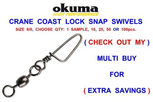 OKUMA SIZE 6//0 CRANE COAST LOCK SNAP SWIVELS SEA FISHING LINE FAST EASY RIG LINK