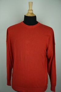 Brunello-Cucinelli-100-Cashmere-Red-Woven-Crewneck-Fall-Necessity-Sweater-Sz-52