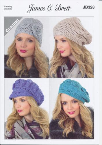 Ladies Chunky different Hat designs Crochet Pattern James Brett Womens JB328