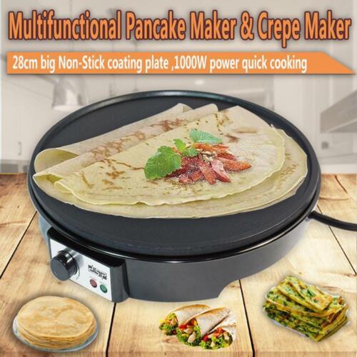 "Wooden Spatula 12"" Electric Crepe Maker Griddle Cooktop with Batter Spreader"