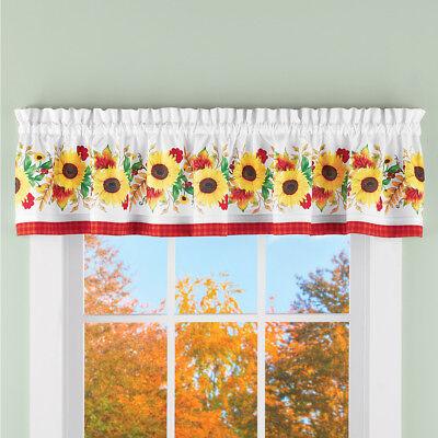 Window Valance Country Harvest Sunflower Pumpkin Birds Fall Leaves Bathroom