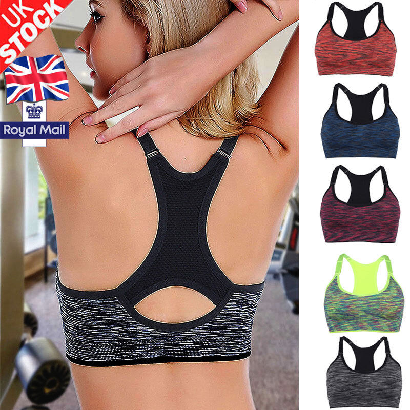 UK Women Running Sports Bra Yoga Gym Workout Vest Crop Tops Shapewear Padded Bra