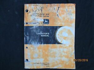 john deere 544 h loader and tc54h tool carrier operators manual rh ebay com John Deere Loader Forks John Deere Wheel Loader