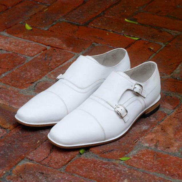 Handmade Men White Monk Shoes, Men Uniform Party Formal Shoes Men dress Shoes