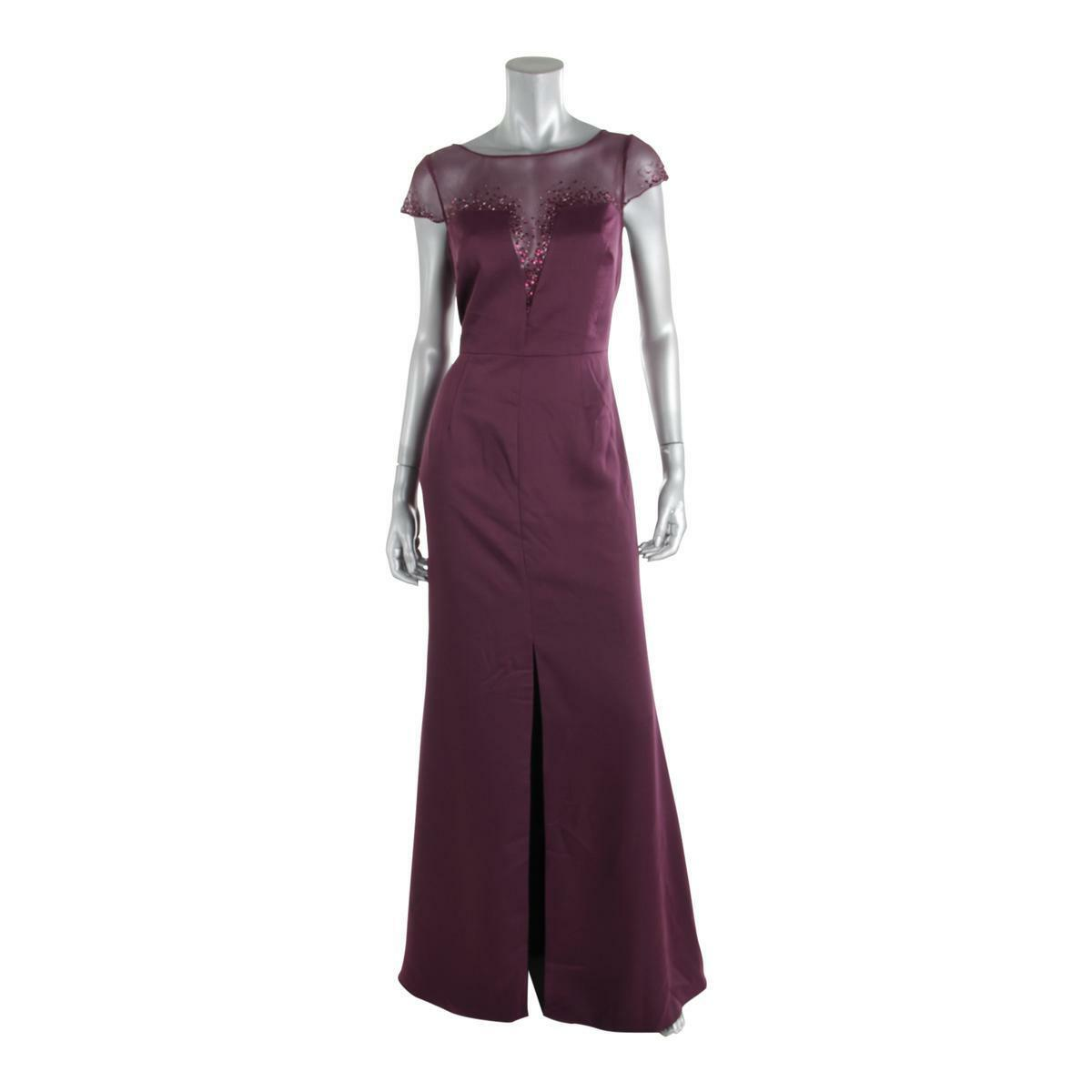 Adrianna Papell New Womens Purple Embellished Evening Dress Gown 10
