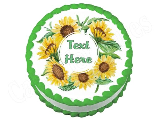 Sunflower party decoration round edible party cake topper cake image