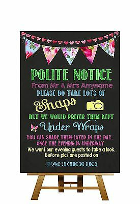 Bright Chalkboard Style Dont Post Photos On Facebook Personalised Wedding Sign