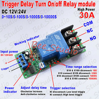 DC 24V Trigger Delay turn off on Switch Timer Relay Module High Power 30A PLC