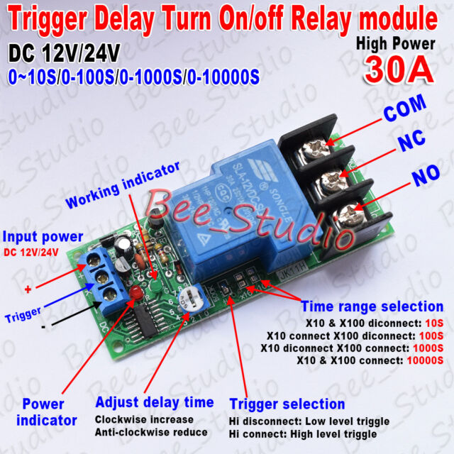 High Power DC 30A Trigger Control Delay Timer Switch Turn ON/Off  Relay Module
