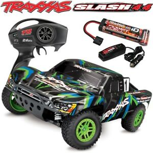 Traxxas-68054-1-Slash-4x4-Brushed-1-10-Short-Course-RTR-Truck-Batt-amp-Charger-GRN