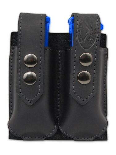 NEW Barsony Black Leather Double Magazine Pouch Astra Beretta Full Size 9mm 40
