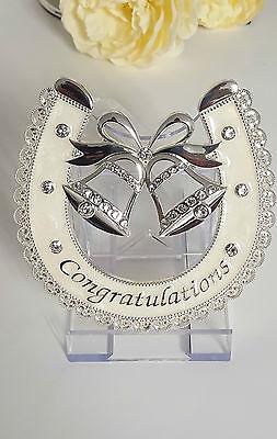 AMORE LUCKY HORSESHOE IVORY WEDDING BELLS SILVER PLATED WEDDING