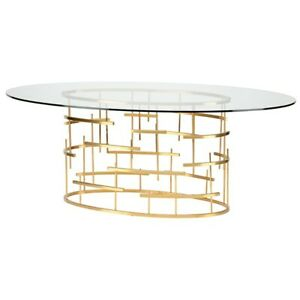 77 L Oval Dining Table Gold Brushed Metal Base Clear Tempered