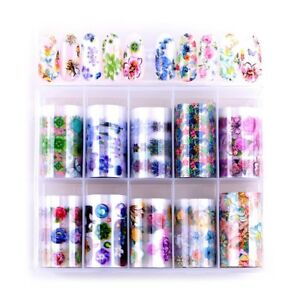 10-Rolls-Box-Holographic-Nail-Foils-Lace-Flower-Snakeskin-Leopard-Starry-Sticker