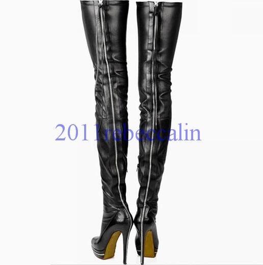 Noir Talon Aiguille Plateforme Femmes Fermeture Éclair au-dessus du genou Cuissardes Clubwear
