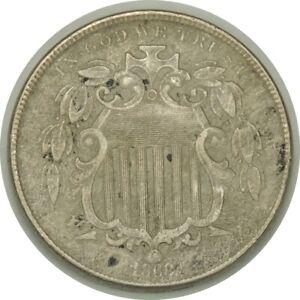 1868 5C Shield Nickel XF Details (environmental damage / weak date)   (080419)
