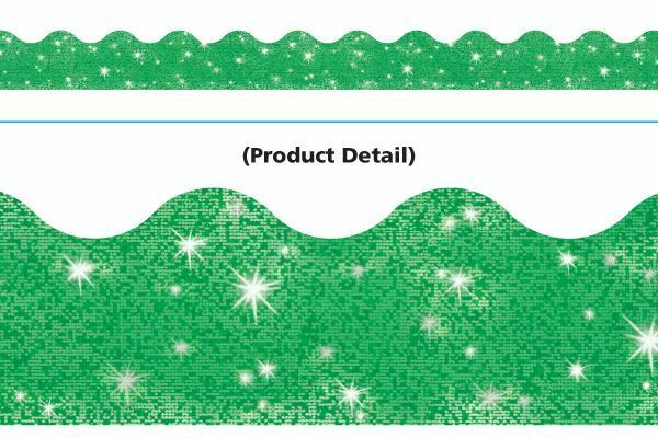 Classroom Trimmers Notice Board Display Borders - Green sparkle