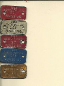 TE-013 - Eight Vintage Wythe Virginia Female Dog Licenses 1980-84, 3 on Collar