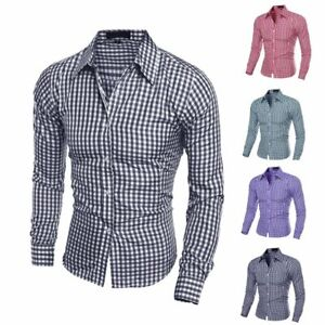 Mens-Cotton-Casual-Plaid-Shirts-Long-Sleeve-Slim-Bottoming-Shirts-Tops-7-Colors
