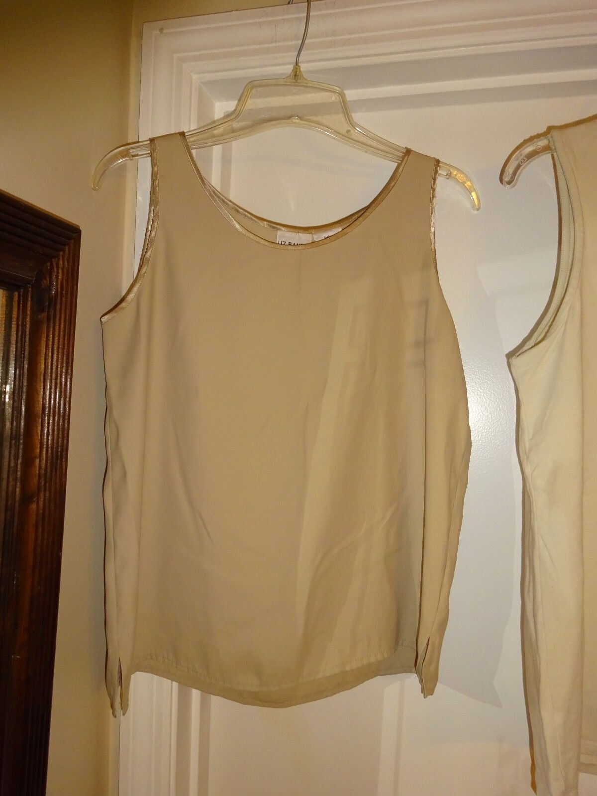 LIZ BAKER Essentials Women's Camisole Tank Top Lt Camel Sleeveless Womens Small