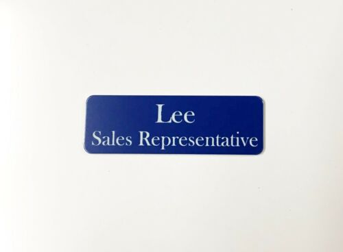 Dark Blue Name Badge with logo Pin attached Laserable Plastic 70 x 23 mm